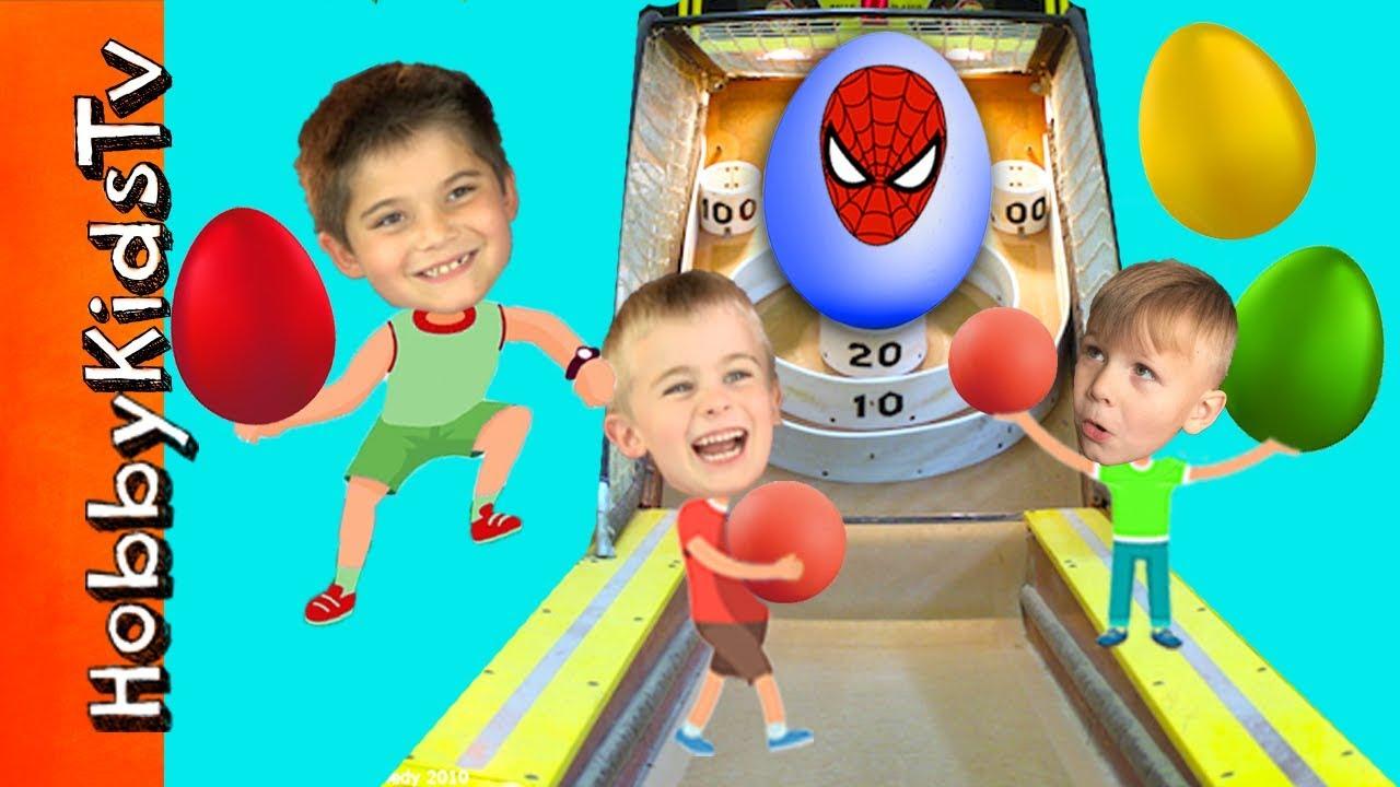 World's Biggest SKEE BALL! Giant EGGS, Spiderman Surprise Toys + Race Cars HobbyKidsTV