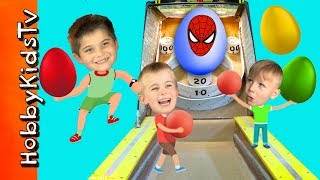 Giant SKEE BALL Set! Toss the Ball for Surprise Toys with HobbyKids