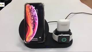 Wireless Dock Station Charger Stand iPhone AirPods Apple Watch 4 3 2 1 X 8 XS Samsung Galaxy S9
