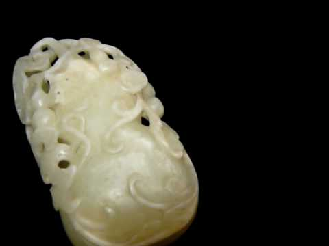 0 Vintage Chinese Jade Carved Gourd Display s2555