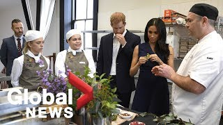 Prince Harry and Meghan Markle get a taste of native Australian food