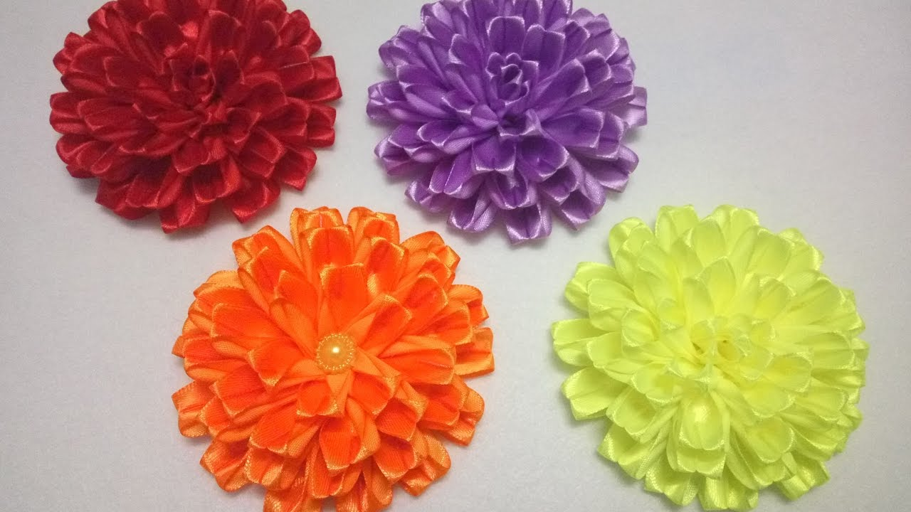 Канзаши объёмные цветы фото