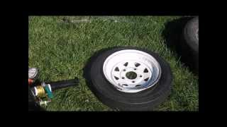Removing and resetting a 12 in trailer tire