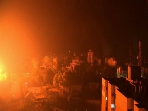 Raw: Massive Explosion in Gaza City