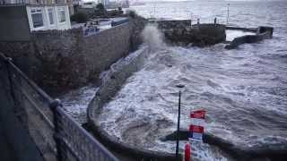 Storms Weston-super-Mare on seafront on Friday 3rd January 2014 causing flooding