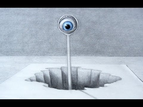 How to Draw a 3D Optical Illusion with Pencil - An Alien Spying Eye in 3D