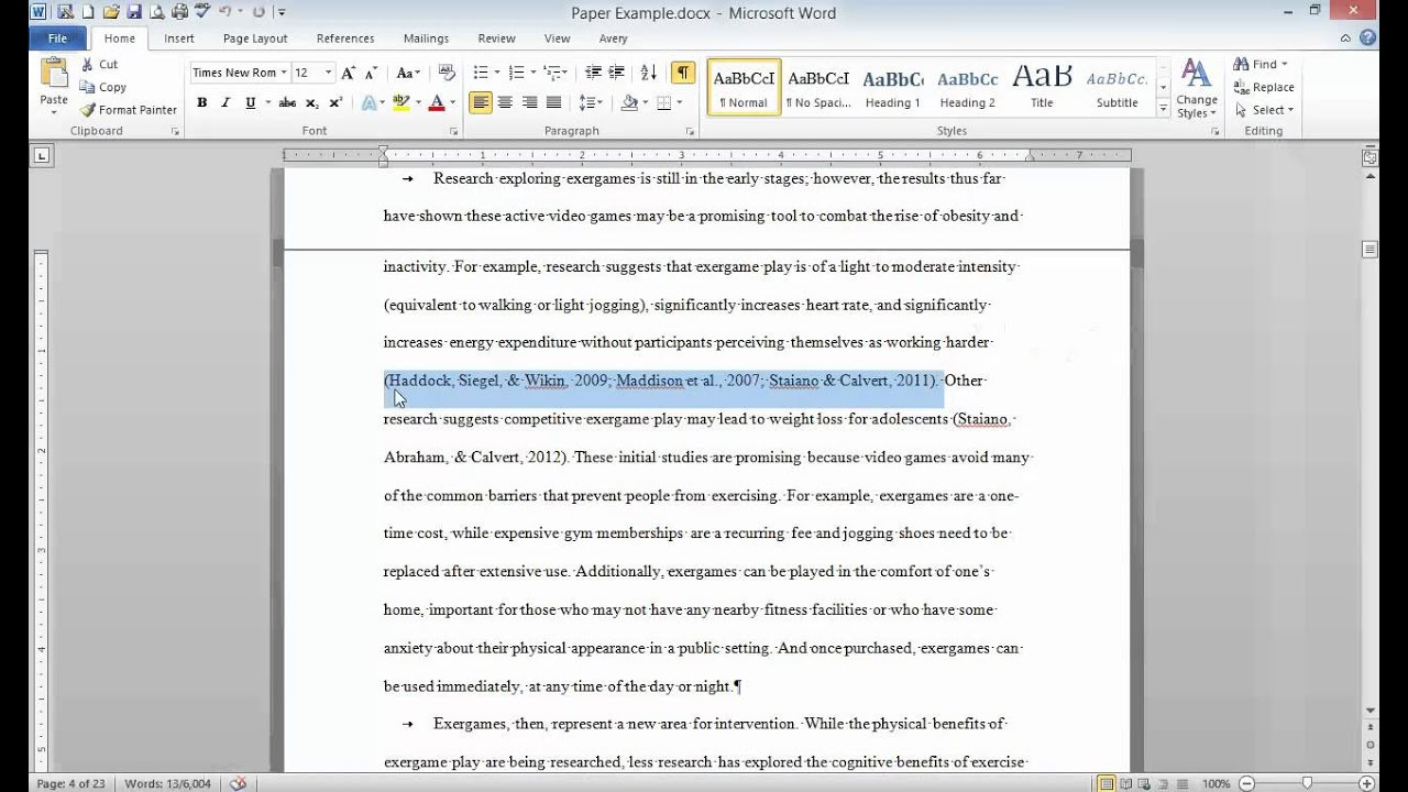 Example of Essay with References