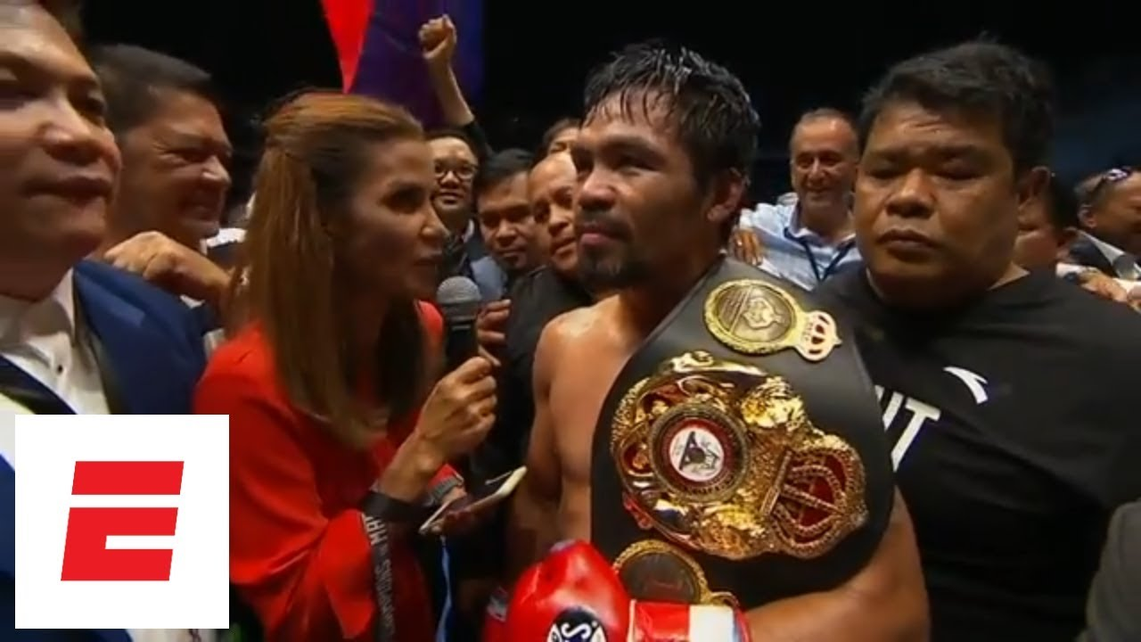 Manny Pacquiao defeats Lucas Matthysse by TKO in the seventh round [interview]   ESPN