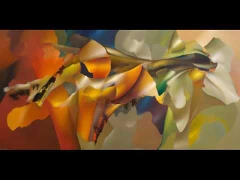 Abstracte bloemenschilderijen in sfeervolle vrolijke kleuren schilderijen de bloem youtube - Taupe kleuren schilderij ...