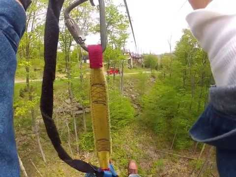 Zipline Blooper Rescue.  Fastest, longest zip, and longest rebound in North America