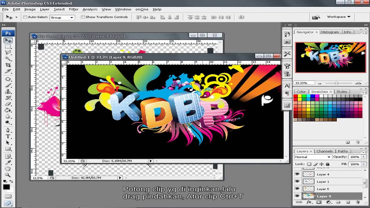 tutorial photoshop cs3 bahasa indonesia membuat Text 3d - YouTube