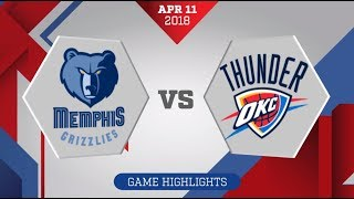 Memphis Grizzlies vs. Oklahoma City Thunder - April 11, 2018