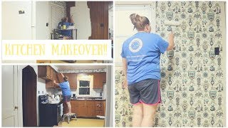 HOW TO PAINT OVER WALLPAPER!!!! ll Major Kitchen Makeover!!!!