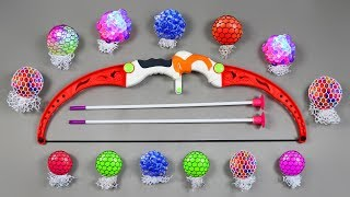 Learn Colors with Squishy Balls and Playing with Bow & Arrow Toy | Archery Bow Arrow Squishy Balls