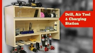 Drill Charging Station with Air Tool Storage - and Dust Free Bins