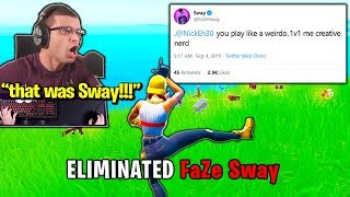 FaZe SWAY *UPSET* when NICK EH 30 *DESTROYS* Him! (Fortnite)