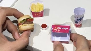 DIY: Mini Food McDonald's Burger & Fries with Coke (Miniature Cooking Sounds) (ASMR) (KIDS' TOYS)