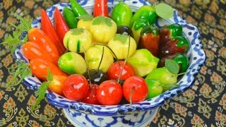 How to Make Thai Kanom Luk Chup (fruit-shaped mung beans) ขนมลูกชุบ