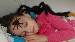 Spiders Girl In Her Bed