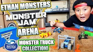 ETHAN MONSTERS MONSTER JAM TRUCK ARENA PLAYSET! ULTIMATE CUSTOM BUILD! HUGE MONSTER TRUCK COLLECTION