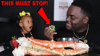 I TOOK LAYLA BRACELET!! SEAFOOD MUKBANG (KING CRAB LEGS + FRUITS) EATING SHOW | BEAST MODE