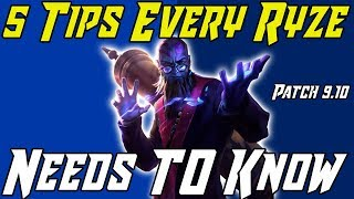 5 THINGS EVERY RYZE PLAYER NEEDS TO KNOW! League of Legends Ryze Guide Season 9 2019
