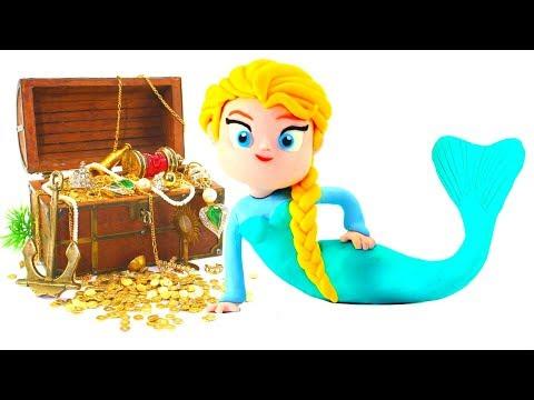 Frozen Elsa Mermaid Princess Play Doh Cartoons & Stop Motion Movie