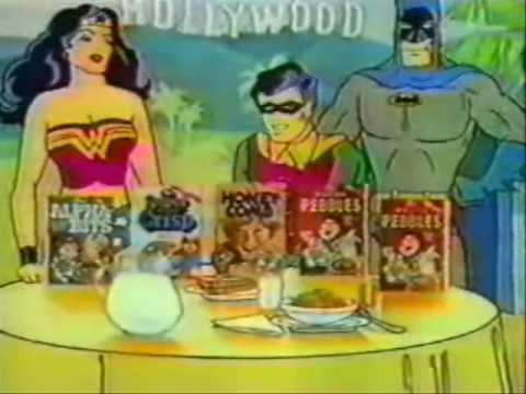 Vintage 80's Post Cereal Box TV Commercial with Batman, Robin, Superman, & Wonder Woman