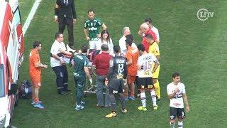 Lucas Pratto cai desacordadoapós choque eé retirado de ambulância do Allianz Parque