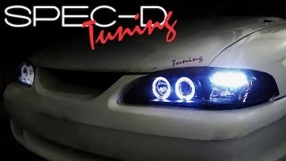 SPECDTUNING INSTALLATION VIDEO: 1994-1998 FORD MUSTANG 1-PIECE PROJECTOR HEADLIGHTS