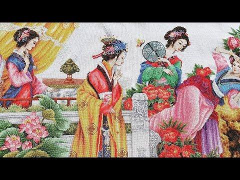 Вышивка крестом 12 красавиц японок готовая работа 27