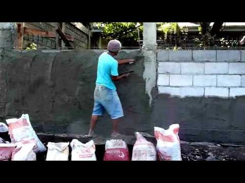 Concrete Hollow Blocks Wall Plastering 11 15 12 Youtube