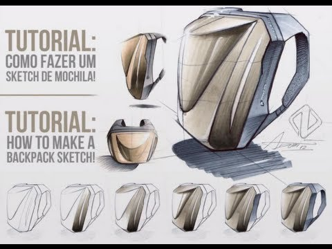 Tutorial How to make a backpack sketch Como fazer um sketch de mochila