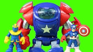 Marvel Playskool heroes Spiderman Captain America With Space Command Armor Robot Battles Thanos