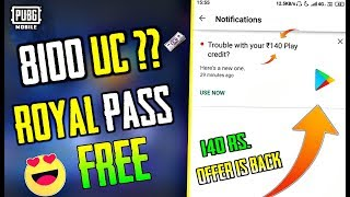 PUBG Mobile : 140Rs. Offer Is Back | 8100 UC Free ?? | Get Free Royal Pass In PUBG Mobile