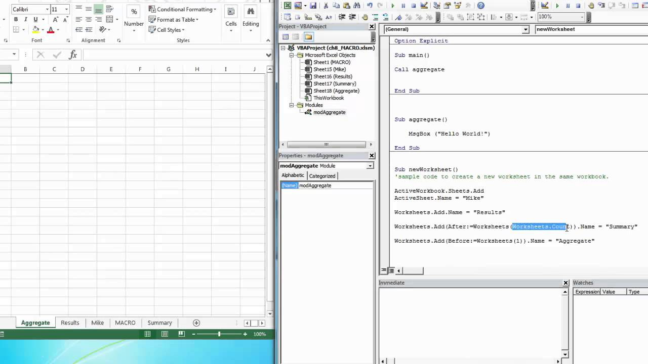 Create a hidden worksheet vba