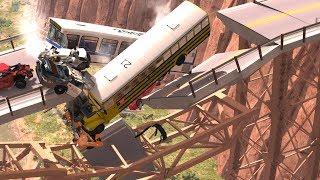 Collapsing Bridge Pileup Crashes #9 - BeamNG Drive Crash Testing