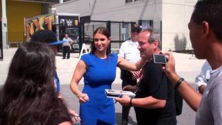 WWE Stephanie McMahon with fans in Orlando March 2016