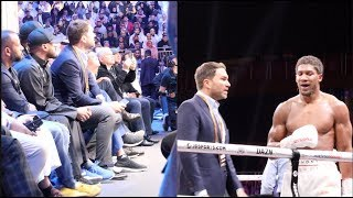 EDDIE HEARN NERVOUSLY WATCHING ROUND 12 OF RUIZ-JOSHUA, THEN GOES CRAZY AT FINAL BELL IN SAUDI