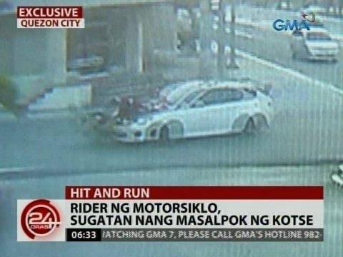 24 Oras: Rider ng motorsiklo, sugatan nang masalpok ng kotse