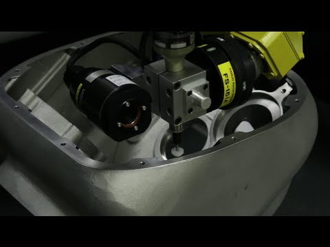 FANUC Delta Robot Deburrs A Machined Casting Using Force Control