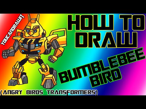 Angry Birds Transformers Drawings ▶ How to Draw Bumblebee Bird