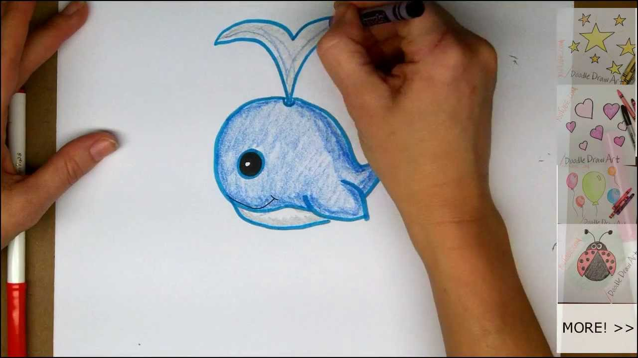 Drawing how to draw a cute cartoon whale easy step by for Cute but easy things to draw