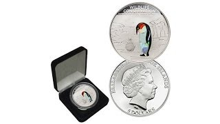 Cook Islands LE 2500 Proof Penguin $5 Silver Coin