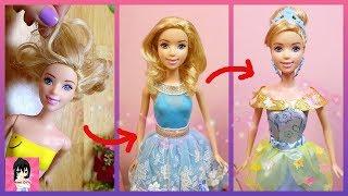 Cinderella Makeover - Hair style - Doll Clothes Tutorial - Disney Princess