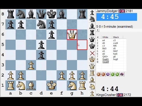 Chess World.net: LIVE Blitz #1888 vs JammyDodger (2181) - Sicilian: Smith-Morra gambit (B21)