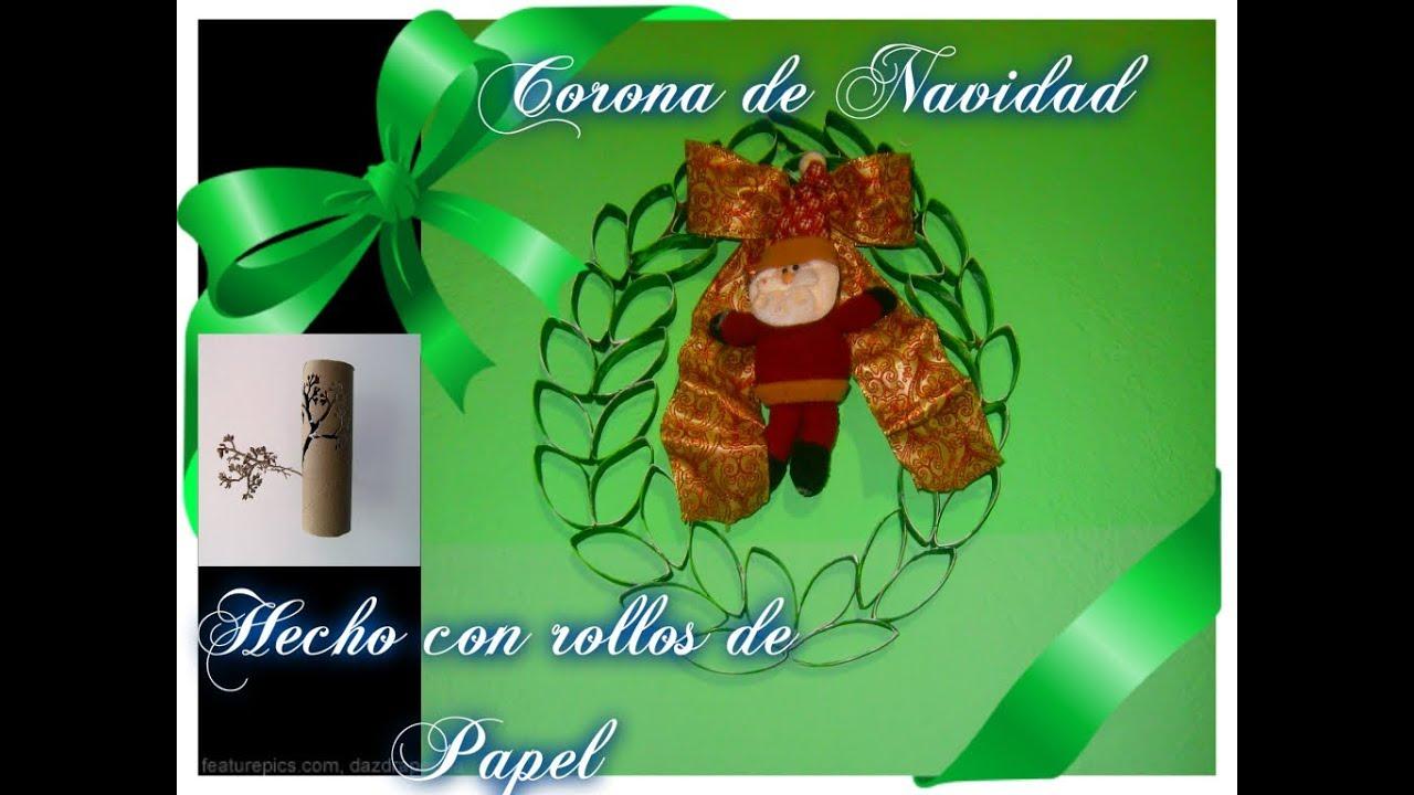 Corona navide a con rollos de papel de ba o easy - Como hacer decoraciones navidenas ...