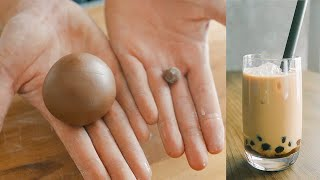 How to Make Bubble(Boba) Tea from Scratch【タピオカ50倍】粉から作るタピオカミルクティー