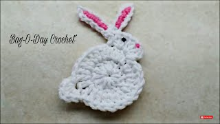 CROCHET How to #Crochet Easy Bunny Rabbit Applique Easter #TUTORIAL #206 LEARN CROCHET