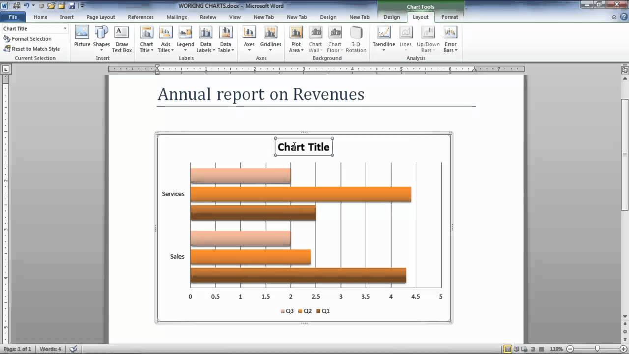 How To Modify Chart Data In Microsoft Word 2010